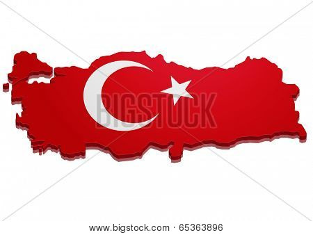 detailed illustration of a 3D Map of Turkey, eps10 vector