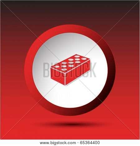 Hollow brick. Plastic button. Vector illustration.