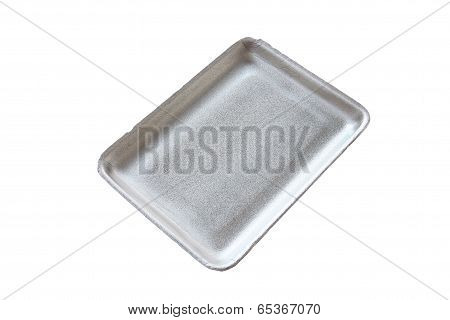 Black Empty Food Tray Or Foam Food Container Isolated.