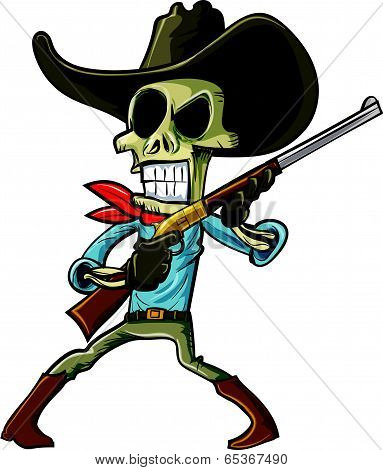 Cartoon skeleton cowboy with a gun. Isolated on white