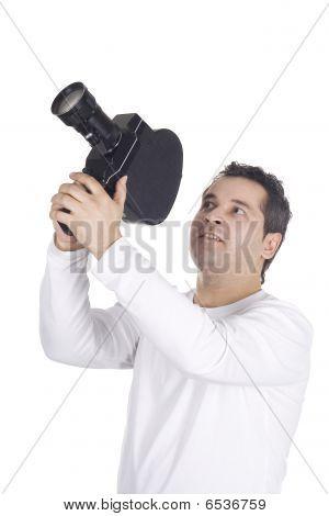 Cameraman operator Isolated On the White Background