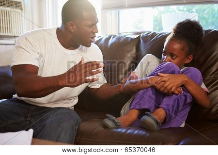 Father Being Physically Abusive Towards Daughter At Home