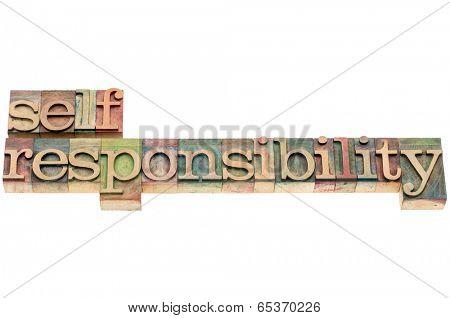 selfresponsibility word in letterpress wood type printing blocks
