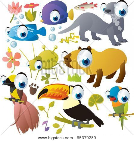 Vector Animals Set: fish, aphid, capybara, giant otter, toucan, bird of paradise, parrot