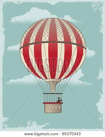 Vintage retro Hot Air Balloon. Textured vector design background.