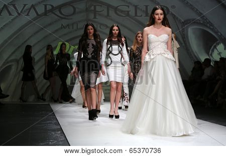 ZAGREB, CROATIA - MAY 09: Fashion model wearing clothes designed by Avaro Figlio on the Zagreb Fashion Week on May 09, 2014 in Zagreb, Croatia.