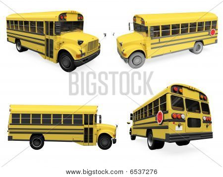 Collage Of Isolated School Bus