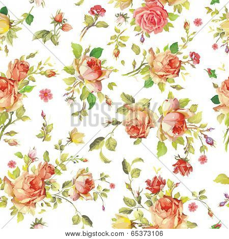 Watercolor painting seamless background with pink roses
