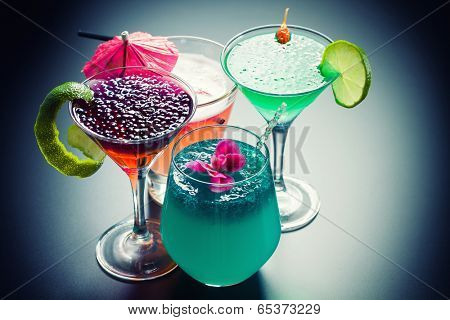 Molecular mixology - Four Cocktail with  caviar