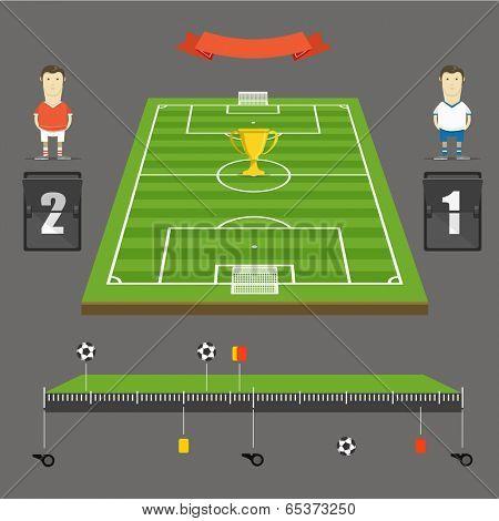 Soccer match statistics template. Flat design