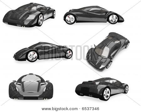 Collage Of Isolated Sport Car