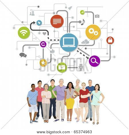 Vector of Diverse People with Social Media Symbols