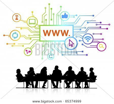 Vector of website themed background and silhouettes of business people sitting around the conference table.