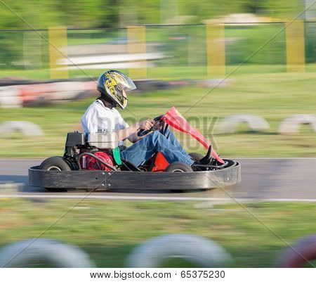 Adult man on a go-cart