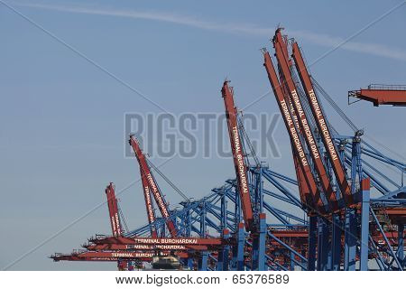 Hamburg - Container Gantry Cranes At Terminal