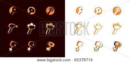 Vector Golden Keys set