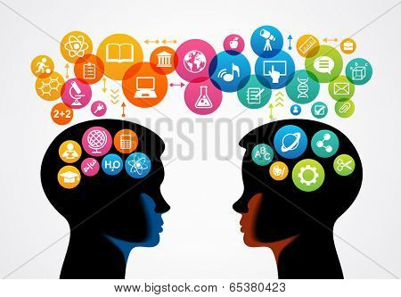 communication concept.  Profiles of two children surrounded by colored circles and icons of science and education.  The file is saved in the version AI10 EPS. This image contains transparency.