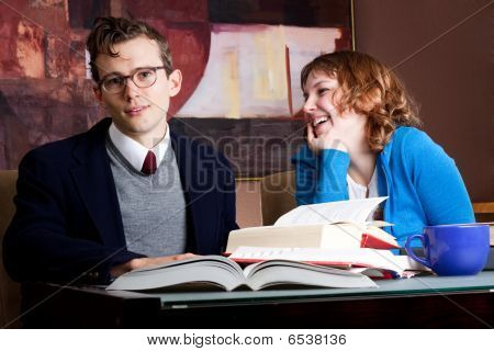 Students Laughing And Studying