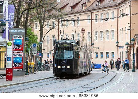 Tram In Dowtown Freiburg Im Breisgau, Germany