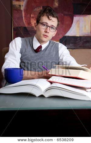 Preppy Student Studying