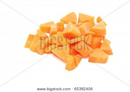Sliced Carrot Of Isolated On White.