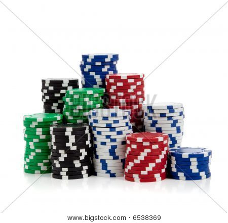 Stacks Of Poker Chips On White
