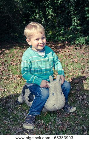 Young Cute Little Boy Sitting On Toy Cow Outside