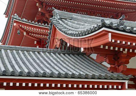 Traditional Japanese architecture at Sensoji Temple in Asakusa, Tokyo, Japan