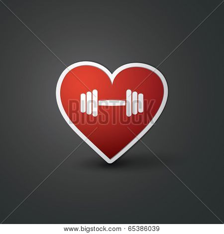 I Love Sport - Workout Sign with Barbell
