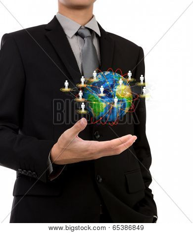 Business man holding the small world of social network in his hands against white background (Elements of this image furnished by NASA)