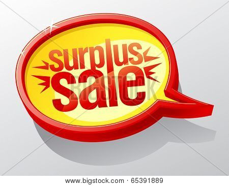 Surplus sale golden speech bubble.