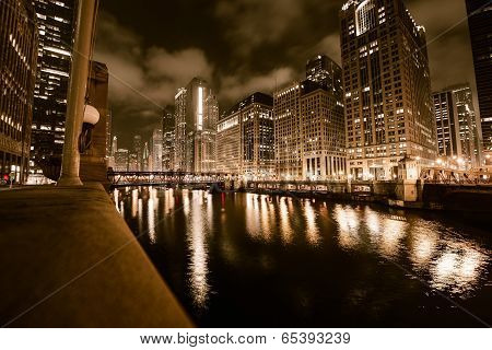 Chicago River In Gold