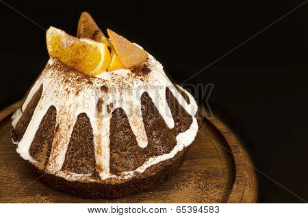 Chocolate Orange Cake Covered With Icing