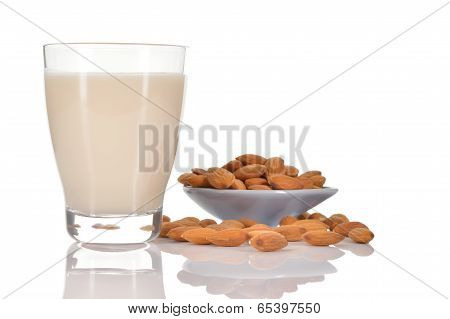 Almond Milk On White Background.
