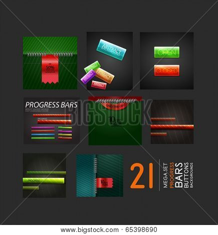 Set of progress bars buttons and backgrounds. 21 business and technology design elements