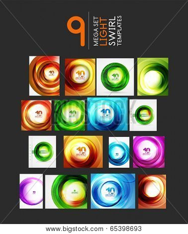 Mega set of waves and swirls - design templates. Business tech backgrounds