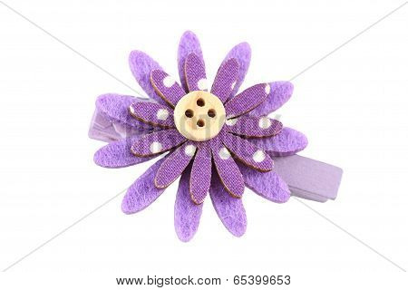 Purple Of Artificial Flower Hairpin Isolated On White.