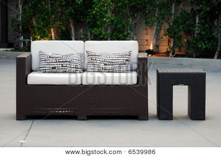 Outdoor Loveseat And Table
