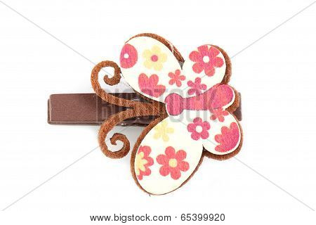 Brown Of Artificial Butterfly Hairpin Isolated On White.