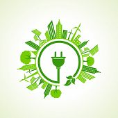 picture of reuse  - Ecology concept with electric plug  - JPG