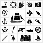 image of flipper  - Vector black icon set ship and boat - JPG