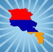 picture of armenia  - Armenia map flag on blue sunburst vector illustration - JPG