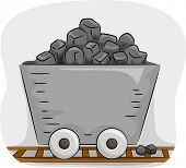 stock photo of nonrenewable  - Illustration Featuring a Mine Trolley Full of Coal - JPG