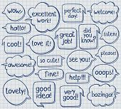 foto of bubble sheet  - Vector set of hand drawn speech bubbles with handwritten texts - JPG