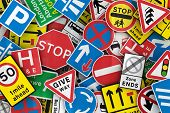 foto of truck-stop  - Chaotic collection of traffic signs from the United Kingdom - JPG