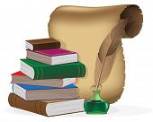 stock photo of inkwells  - Stack of books - JPG