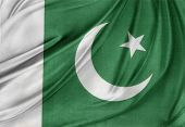 image of pakistani flag  - Closeup of silky Pakistan flag - JPG