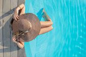 picture of senses  - Top view of a  girl in the swimming pool - JPG