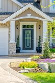 stock photo of stone house  - A nice entrance of a luxury house - JPG
