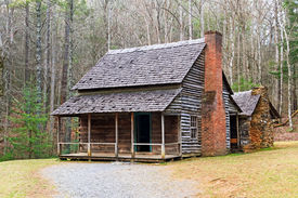 stock photo of cade  - A double cabin owned by Henry Whitehead along Forge Creek in Cades Cove Great Smoky Mountains National Park Tennessee USA - JPG